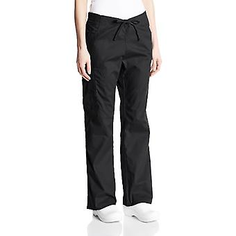 dickies Women's Signature Mid Rise Drawstring Scrubs Cargo Pant, Black, Small