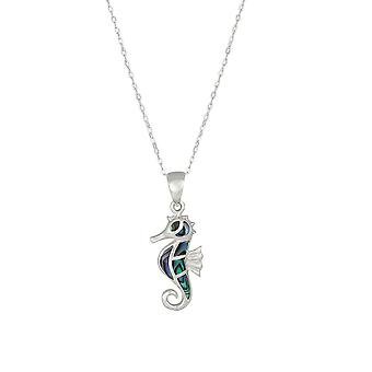 Eternal Collection Aquatica Abalone Sterling Silver Seahorse Pendant