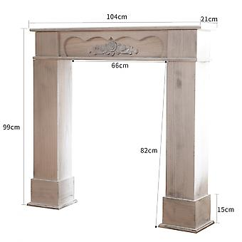 Rebecca Furniture Quadro Decorativo Madeira Branca Clássico 99x104x21