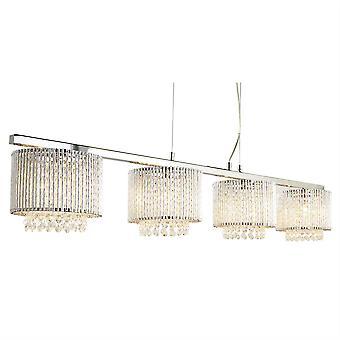Searchlight Elise - 4 Light Ceiling Hanger Bar Chrome, Helder met kristallen, G9