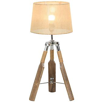 HOMCOM Rustic-Style Tripod Table Lamp w/ Switch Linen-Look Lampshade Rope Steel Fitting E27 Bulb Cool Unique Home Lighting Furnishing Beige