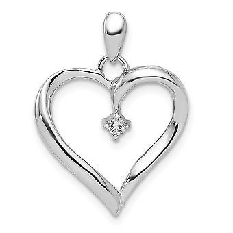 925 Sterling Silver leštené Rhodium Plated Diamond láska srdce prívesok náhrdelník šperky Darčeky pre ženy