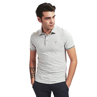 Guess Mens Stretch Baumwolle Polo Shirt - hellgrau