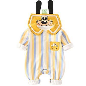 Unisex Cotton Romper Long Sleeves Snap Button One Piece Jampsuit
