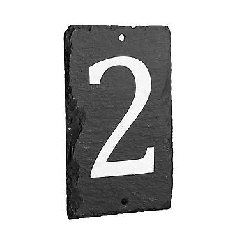 Natural Solid Slate House Numbers (0-9) Including Fixings & Caps - Number 2