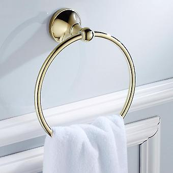 Gold Plated Wall-mounted Brass Towel, Storage Ring-holder