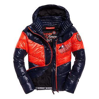 Superdry Snow Terrain Down Puffer Jacket - Navy / Flame Orange