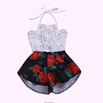 Pudcoco nyári újszülött ruhák- ujjatlan csipke virág nyomtatási szíj romper