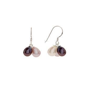 Silverörhängen och svart, vit och rosa odlade pärlor - apos;Trio-