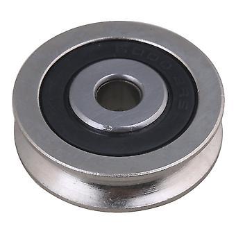 Bearing Steel U Groove Rail Pulley Passive Rolloer Wheel 6mm ID 30mm OD
