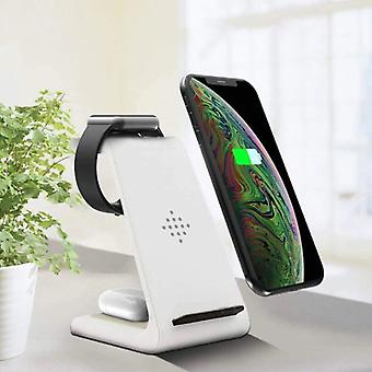 Bonola 3 in 1 Charging Station for Apple iPhone / iWatch / AirPods - Charging Dock 18W Wireless Pad White