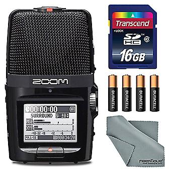 Zoom h2n handy recorder with five mic capsules - bundle with 16gb sdhc card, 4 aa batteries, microfiber cloth
