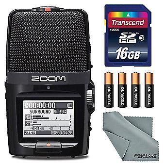 Zoom h2n enregistreur pratique avec cinq capsules micro - bundle avec carte sdhc de 16 Go, 4 piles aa, tissu microfibre