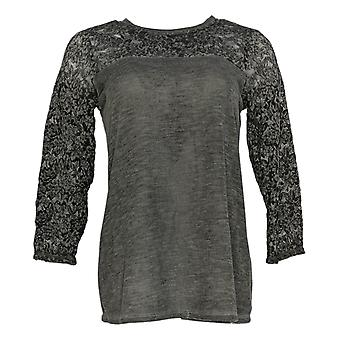 DG2 by Diane Gilman Women's Top Gray Blouse Polyester 3/4 Sleeve 703-136