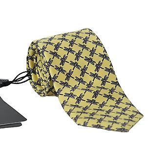 Yellow silk dragonfly print classic tie
