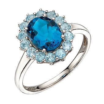Elemente Gold 9ct Weißgold Oval London blau Topas mit Floral blau Topas Surround Ring