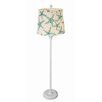 White Floor Lamp with Aqua Sea Horses Shade