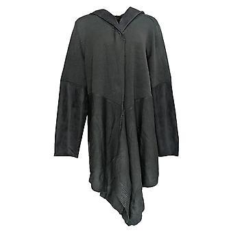 DG2 di Diane Gilman Women's Plus Sweater Blue Hooded Cardigan 690-823