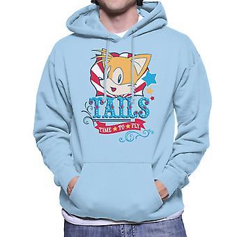 Sonic The Hedgehog Tails Sininen Teksti aika lentää Men's Huppari