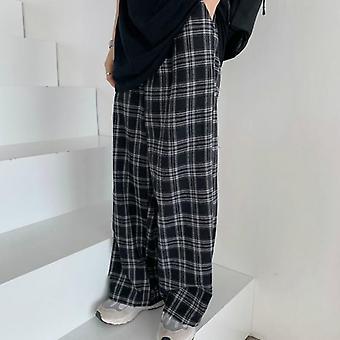 Plaid Pants Vrouwen, Casual Chic Oversize Loose Wide Leg Broek