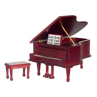Dolls House Miniature 1:12 Music Room Furniture Mahogany Grand Piano + Bench