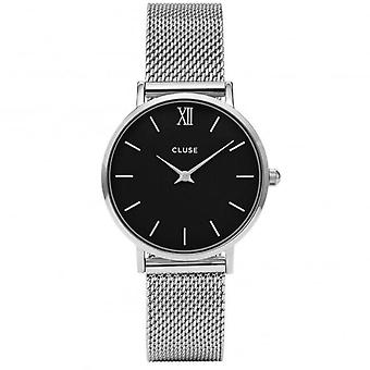 Cluse Cl30015 Minuit zwarte & zilveren Mesh dameshorloge