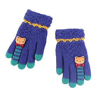 1 Pair Kids Winter Warm Gloves Knitted Gloves Full Finger Thick Mittens