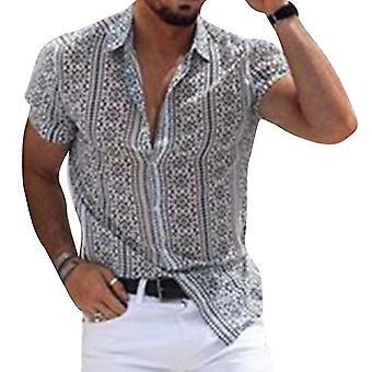 Heren's bedrukte revers shirt top