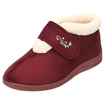 JWF Slipper Ankle Boots Warm Bootee Memory Foam Burgundy