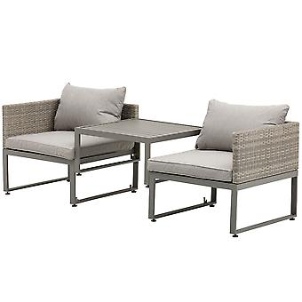 Outsunny 3-in-1 PE Rattan Wicker Garden Furniture Patio Bistro Set Adjustable Feet 5-Position Lounger and 3-Seater Sofa Outdoor Furniture Conversation Grey