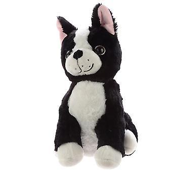 Cute black and white dog plush doorstop