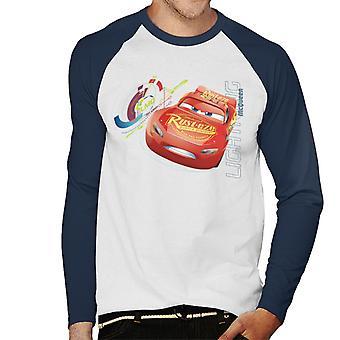 Pixar Cars Lightning Mcqueen Top Speed Men's Honkbal T-Shirt met lange mouwen