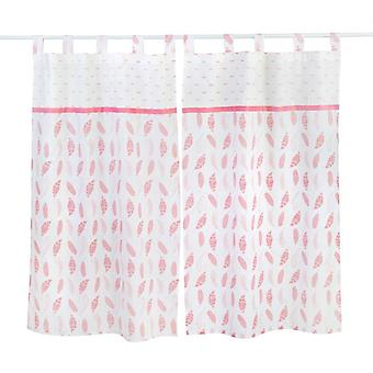 Pink Feather Printed  Curtains