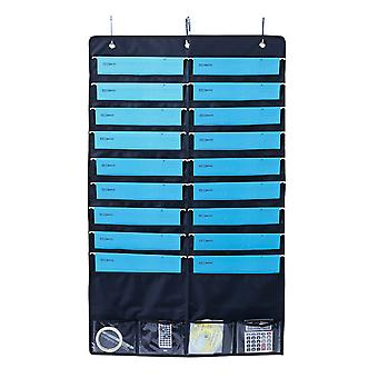 Hanging Bag Office Door Documents Pouch Organizer With Hooks Document Storage Bag Bleu