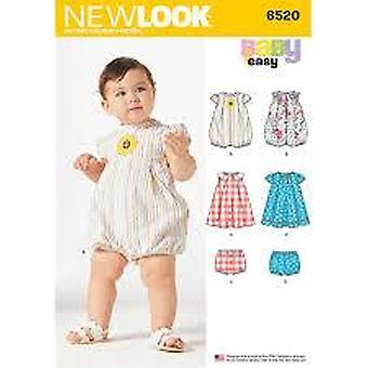 New Look Sewing Pattern 6520 Babies Romper Dress Panties Size NB-L