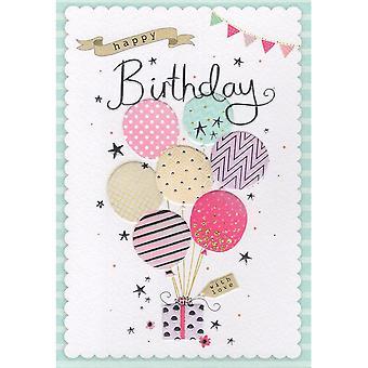 ICG Ltd Open Birthday Card Palladium Range - Balloons