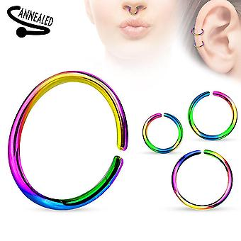 Seamless piercing  rings bendable anodized steel multiple colors 20g 18g 16g