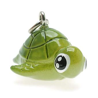 Jewelry Charm, 3-D Hand Painted Resin Honu Sea Turtle 16mm, 1 Piece, Green