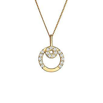 Elli Premium 0108751516_45 - Damehalskæde med vedhæng i form af en cirkel i gult guld 585 med hvide zircons skåret i Ref. 4050878540951