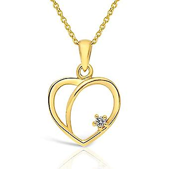 Planetys Necklace with heart in yellow 9 carat gold (375/1000) with diamond, length 42-45 cm(1)