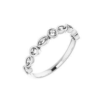 14k Vitt Guld Runda 2mm Polerad 0.2 Carat Diamond Anniversary Band Storlek 7 Smycken Gåvor för kvinnor