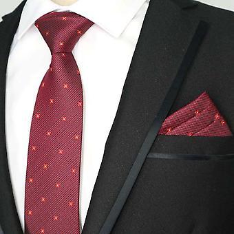 Deep red & light ditsy dot pattern pocket square & tie