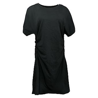 Seed to Style Dress Organic Cotton Ruched Side Short Sleeve Black A392645