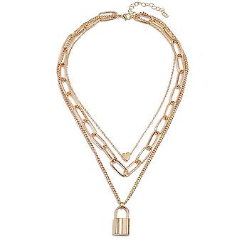 Dámský náhrdelník Vícevrstvý řetěz Broskvové srdce Slitina Zámek Přívěsek Klíční řetízek Řetěz pro výstavu