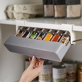 Kitchen Self-adhesive Wall-mounted Under-Shelf Spice Organizer Spice Bottle Storage Rack Kitchen