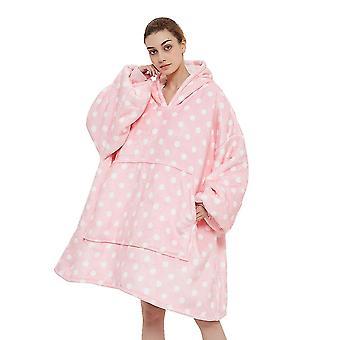 Oversized hoodie deken sweatshirt, draagbare deken, luie deken, super warm en gezellig (roze)