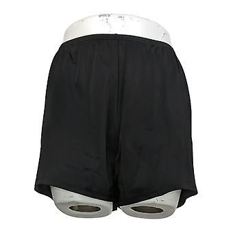 Fit 4 U Swimsuit Solid Swim Short Black Trunk A394007