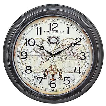 Decorative Rustic Globe Map Design Wall Clock