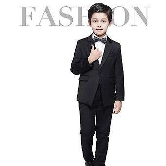 Pojkar passar Slim Fit Formal Dress Suit 4piece Teen Black Suit för bröllopsdräkter set (90cm)