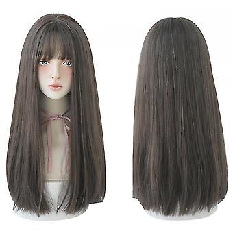 Lange zwarte rechte haar pruik met pony synthetische hoge dichtheid lang haar (color2)